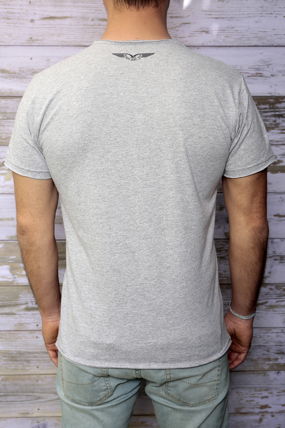 Tshirt mens fashion   graphic brooklyn   ies insight eagle style   made in italy   natural cotton   rear with model