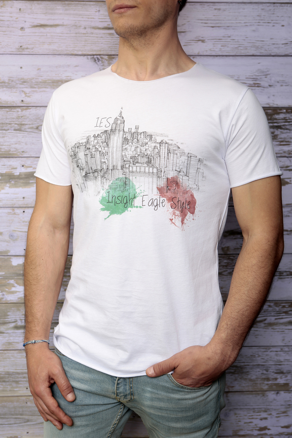 Tshirt mens fashion   graphic new york sketch   ies insight eagle style   made in italy   natural cotton   front with model