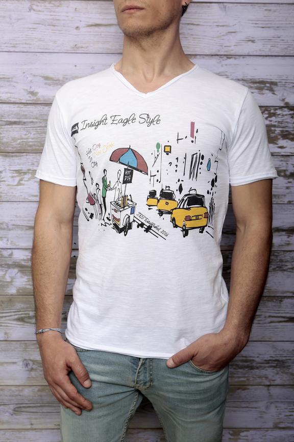 Tshirt mens fashion   graphic new york street   ies insight eagle style  made in italy   natural cotton   front with model