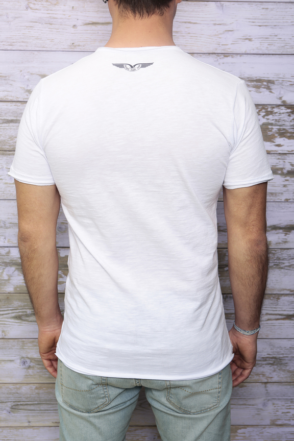 Tshirt mens fashion   graphic new york street   ies insight eagle style   made in italy   natural cotton   rear with model