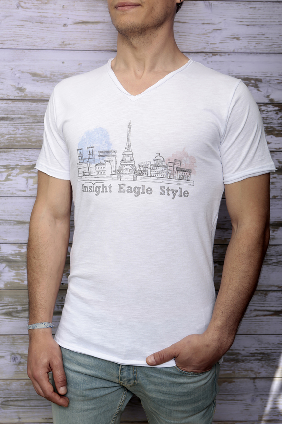 Tshirt mens fashion   graphic paris   ies insight eagle style   made in italy   natural cotton   front with model