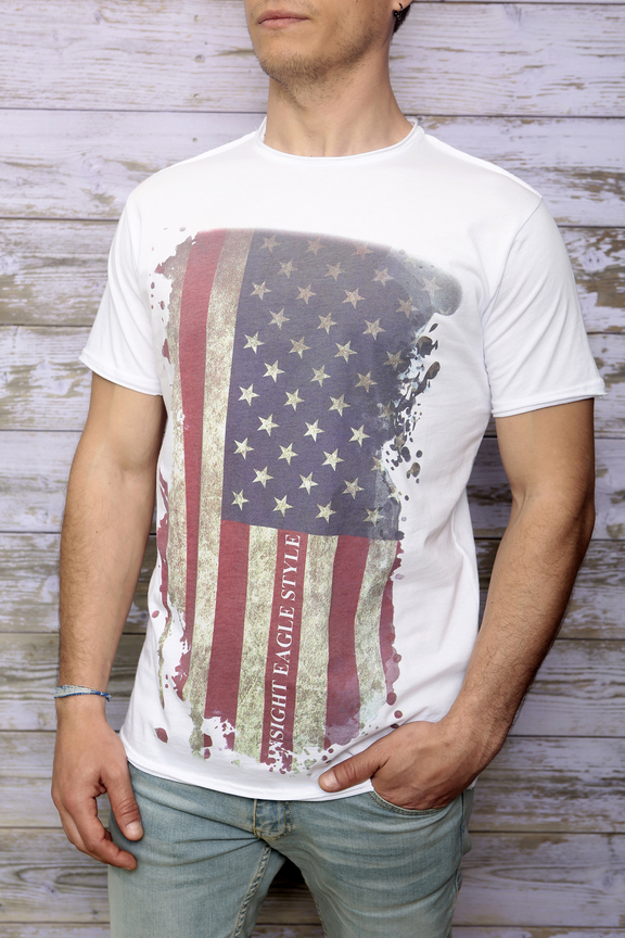 Tshirt mens fashion   graphic usa flag   ies insight eagle style   made in italy   natural cotton   front with model